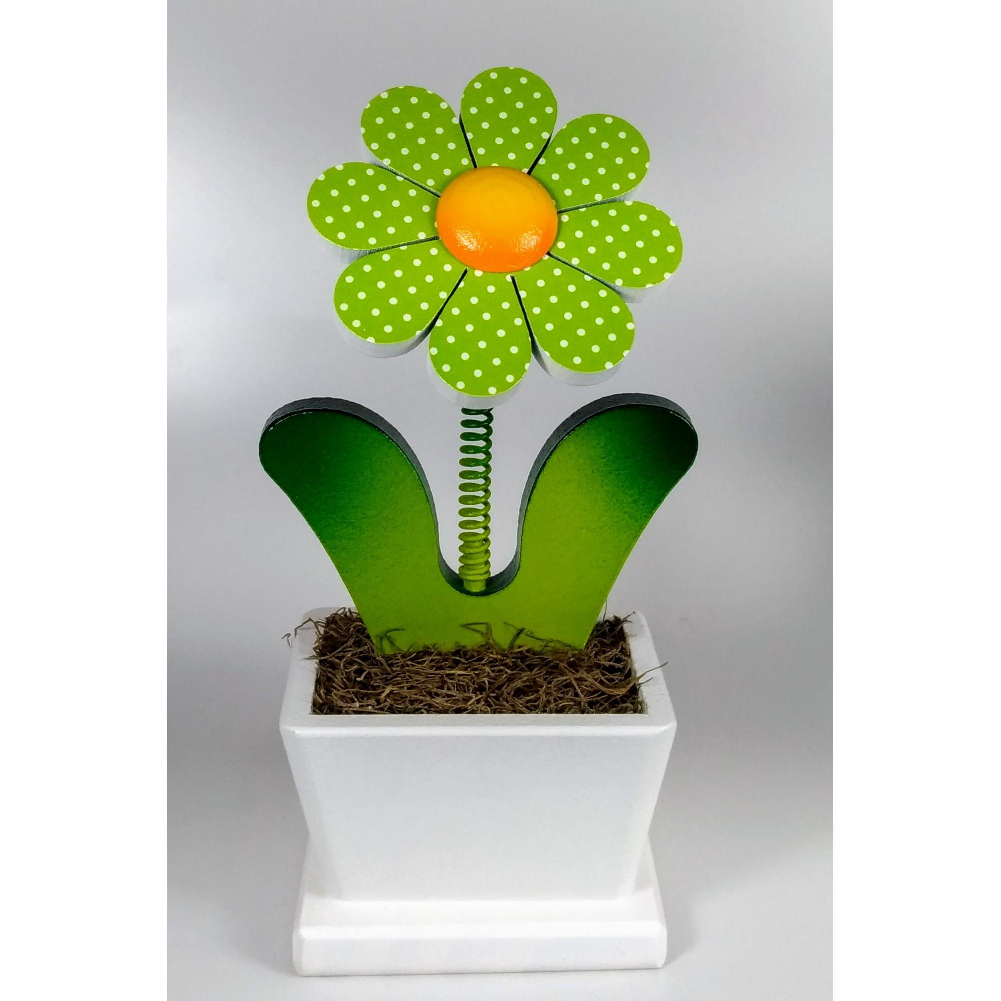 Calço Para Porta de Madeira e Vaso com Flor