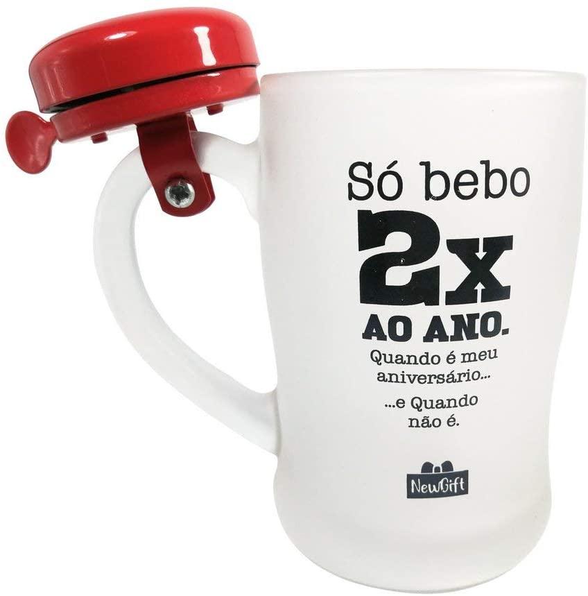 Caneca Campainha Só Bebo 2x Ao An 400ml - Newgift
