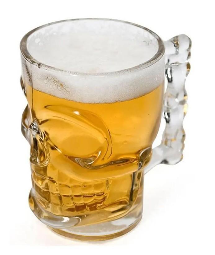 Caneca Caveira Vidro Cerveja  510 ml