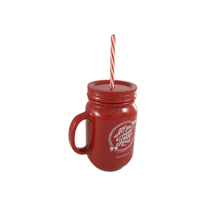 Caneca com Canudo All You Need Is Love 550ml