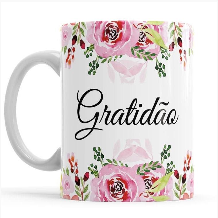 Caneca Gratidão Porcelana 330ml