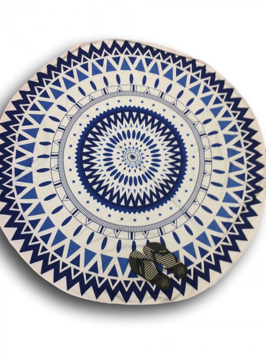 Canga Redonda Atoalhada Modelo Mandala Azul