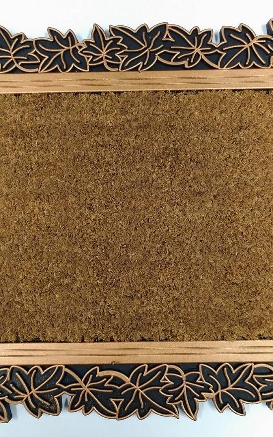 Capacho Leaves em Fibra de Coco e Borracha Bronze - 45cmx75cm