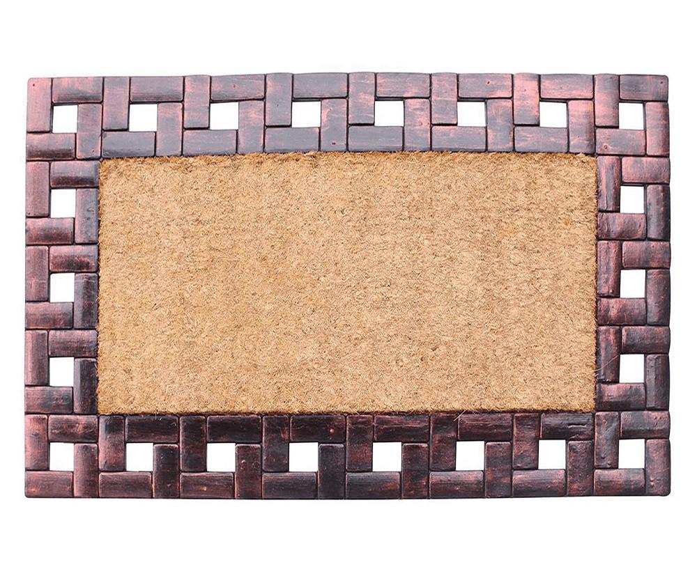 Capacho em Fibra de Coco e Borracha Bege e Bronze - 45cmx75cm