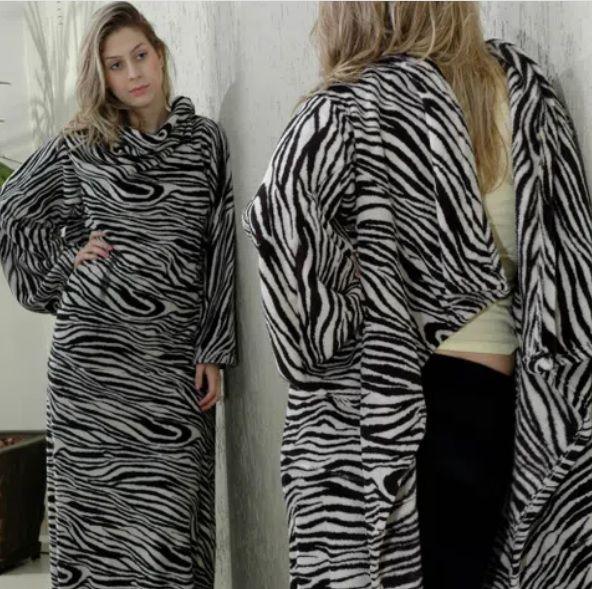 Cobertor com Mangas Zebra Branca e Preta 160x130cm