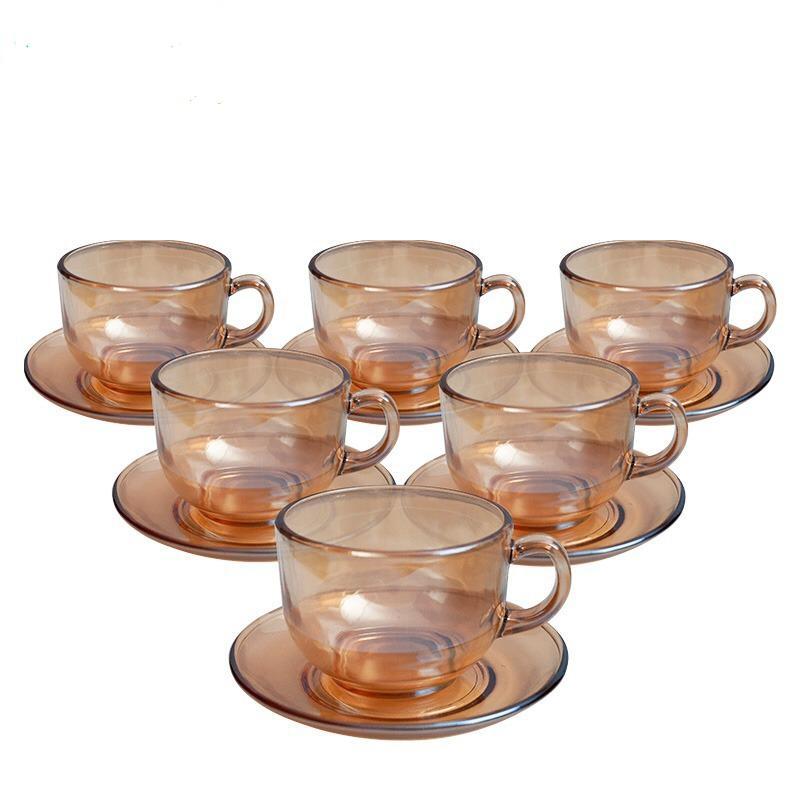 Conjunto de 6 xícaras com 6 pires de Chá Cor Âmbar