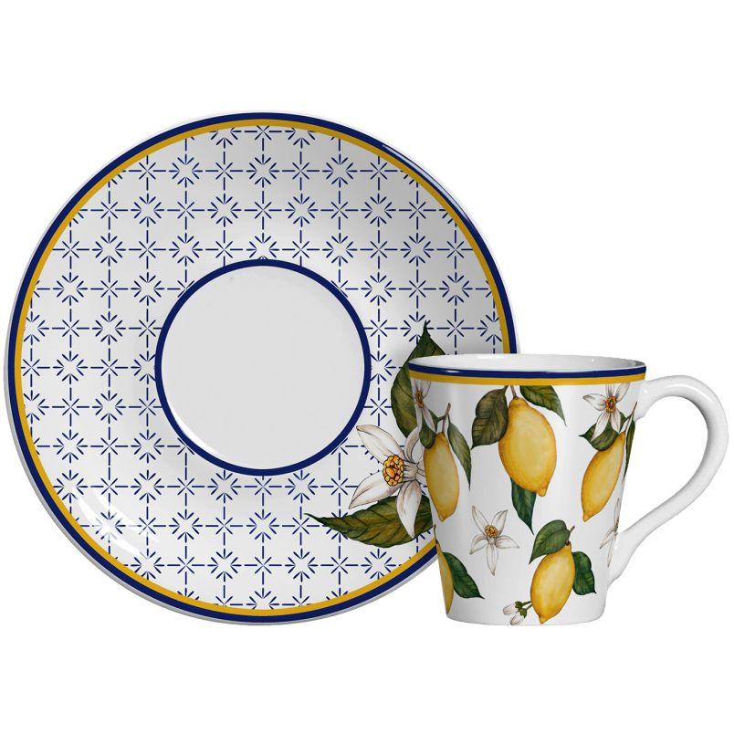 Conjunto de Xícara Chá Linha Sicilia 6 xícaras e 6 pires