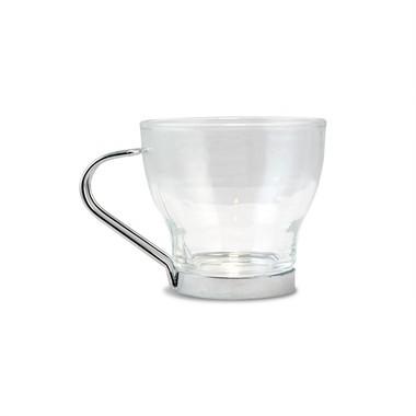 Conjunto de Xícara para Chá em Vidro com Suporte Inox