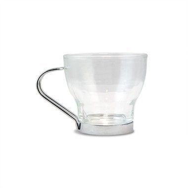 Conjunto de Xícara para Café em Vidro com Suporte Inox