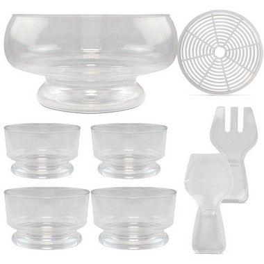 Conjunto Saladeira 7 peças em Acrílico Jogo para Salada