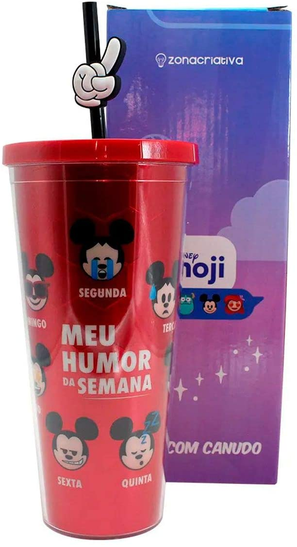 Copo canudo Mickey Holográfico Emoji Humor 650ml - Zona Criativa