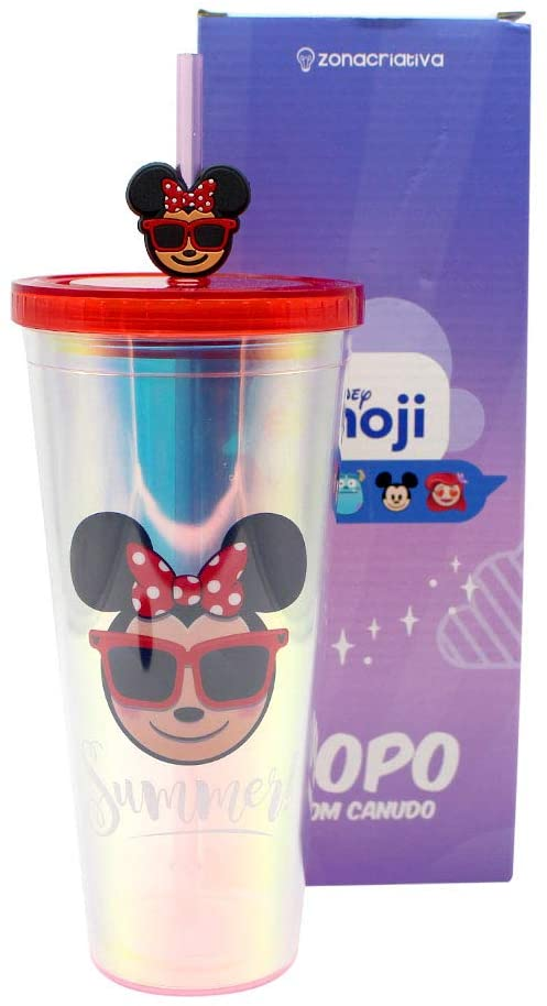 Copo canudo Minnie Holográfico Emoji 650ml - Zona Criativa