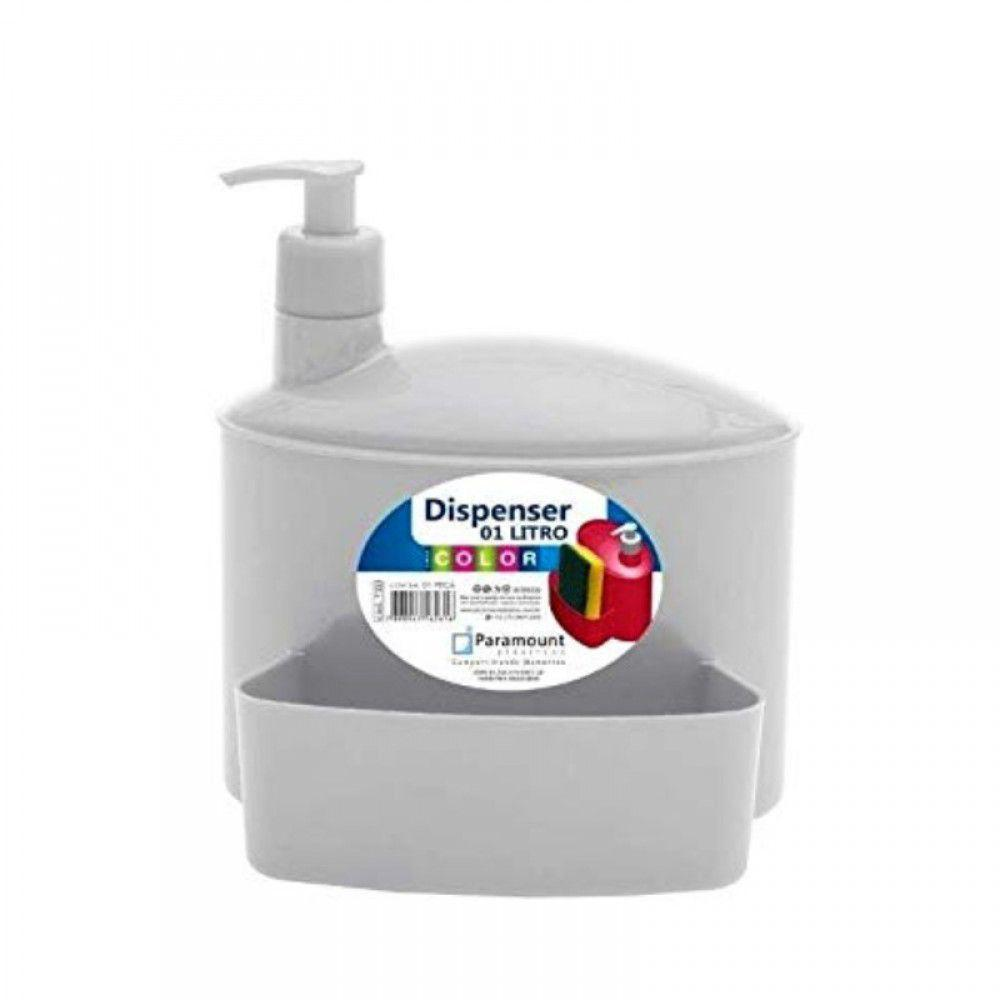 Dispenser Branco 1 Litro com Suporte Para Esponja - Paramount Plásticos