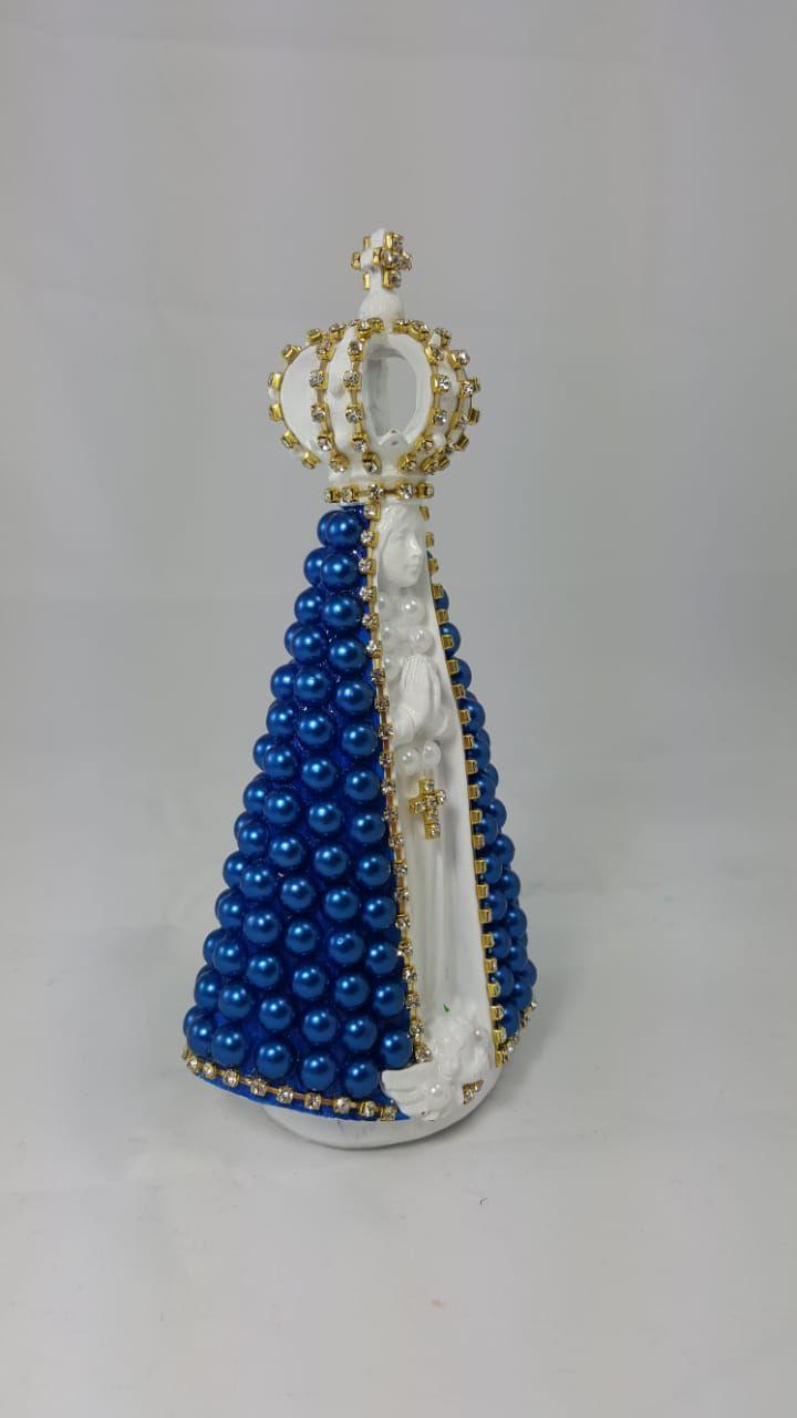 Enfeite Nossa Senhora Aparecida em Resina Manto Azul 17cm