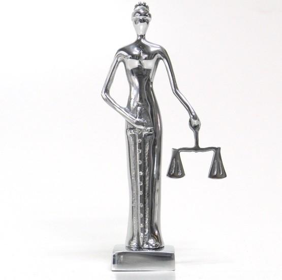 Escultura Dama da Justiça em Alumínio Fundido com Strass Swarovski