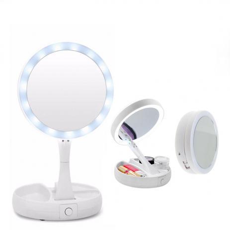 Espelho de Aumento com Led Dobrável e Divisórias