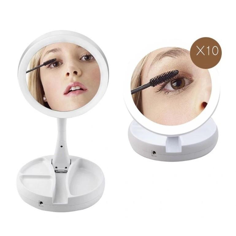 Espelho de Mesa Redondo Dobrável com Led 15x15cm