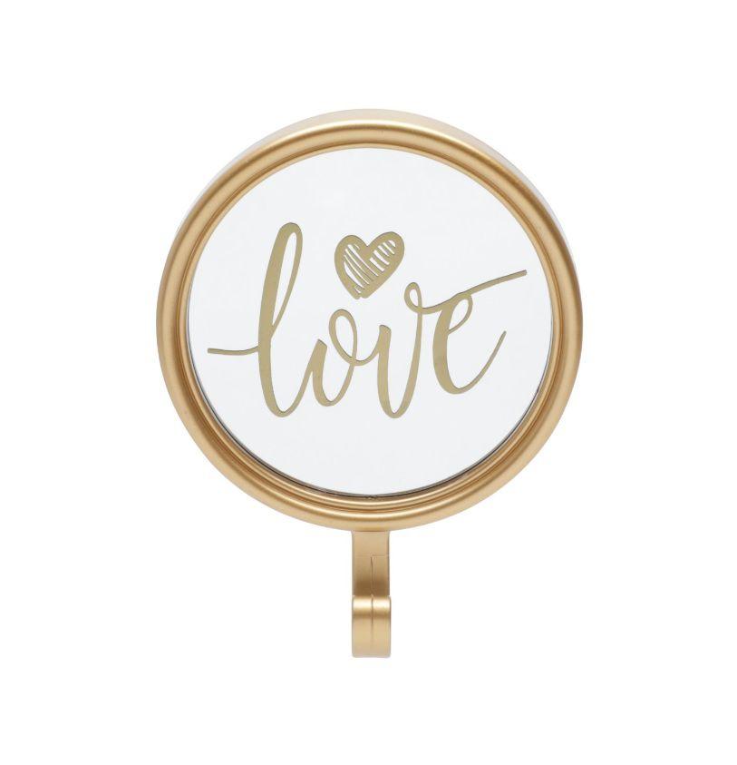 Espelho Redondo 12cm Love Ouro com Gancho