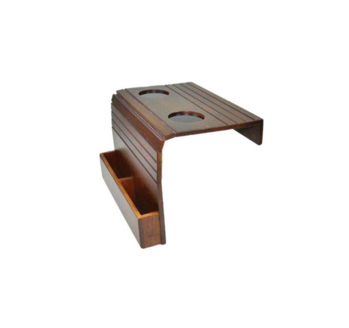 Esteira de Madeira com Porta Controle para Braço de Sofá 48x32cm
