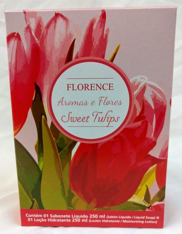 Estojo Sabonete Líquido com Loção Hidratante Sweet Tulips