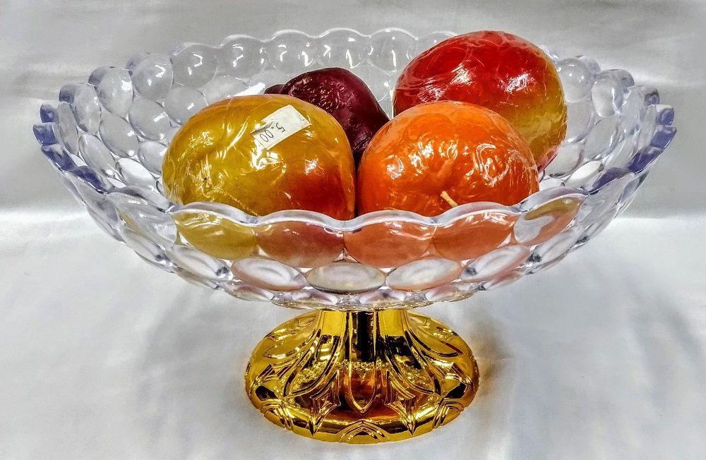 Fruteira em Acrílico com Pé Dourado 27X16cm