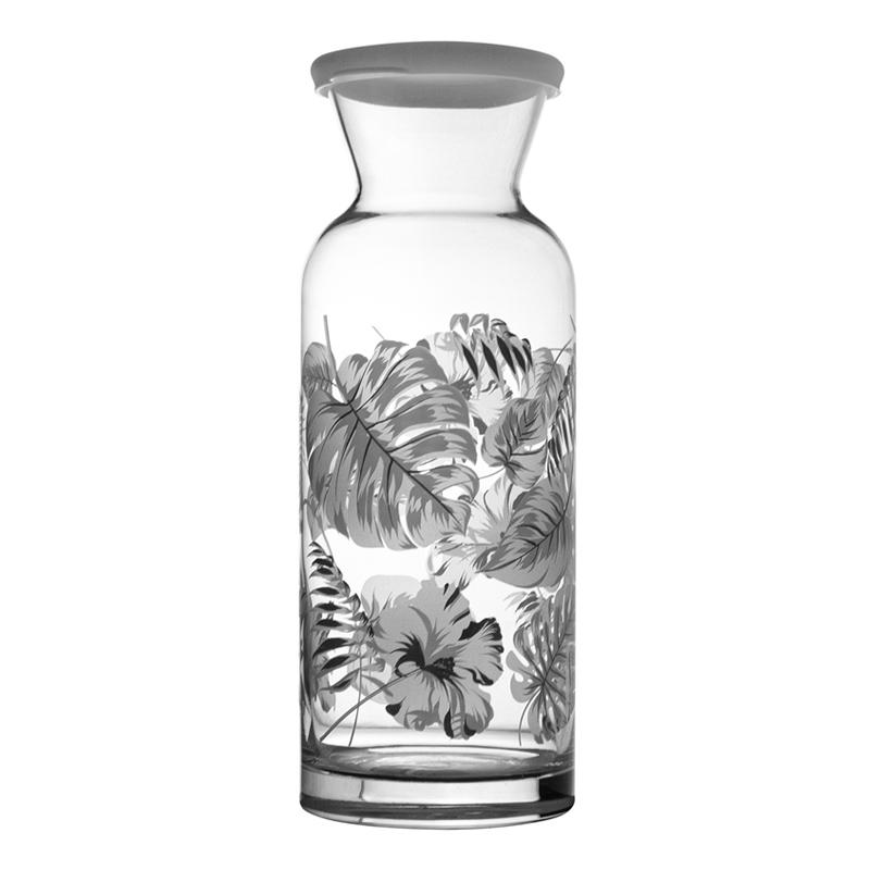 Jarra de Vidro Transparente  com Desenhos Florais com Tampa 1260ml