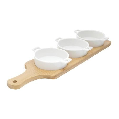 Jogo 3 Petisqueiras Brancas de Porcelana com Tábua 39X12X4cm - Boun Gourmet