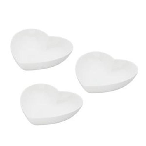 Jogo 3 Petisqueiras Coração Brancas de Porcelana 15X13X5 - Bon Gourmet