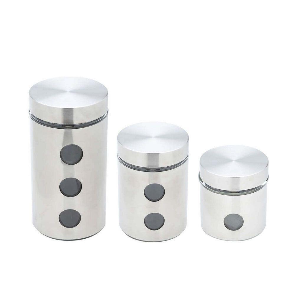 Jogo 3 Porta Mantimento de Aço Inox com Fundo de Vidro -  Bon Gourmet