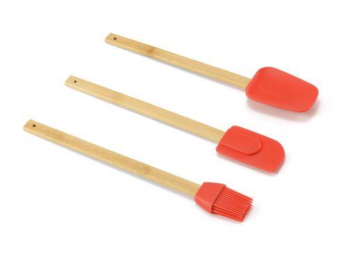 Jogo 3 Utensílios em Bambu e Silicone 30cm