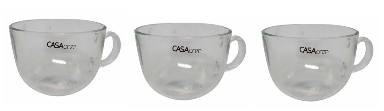 Jogo 3 Xícaras de Chá Vidro 410ml 10x8cm - Casaonze
