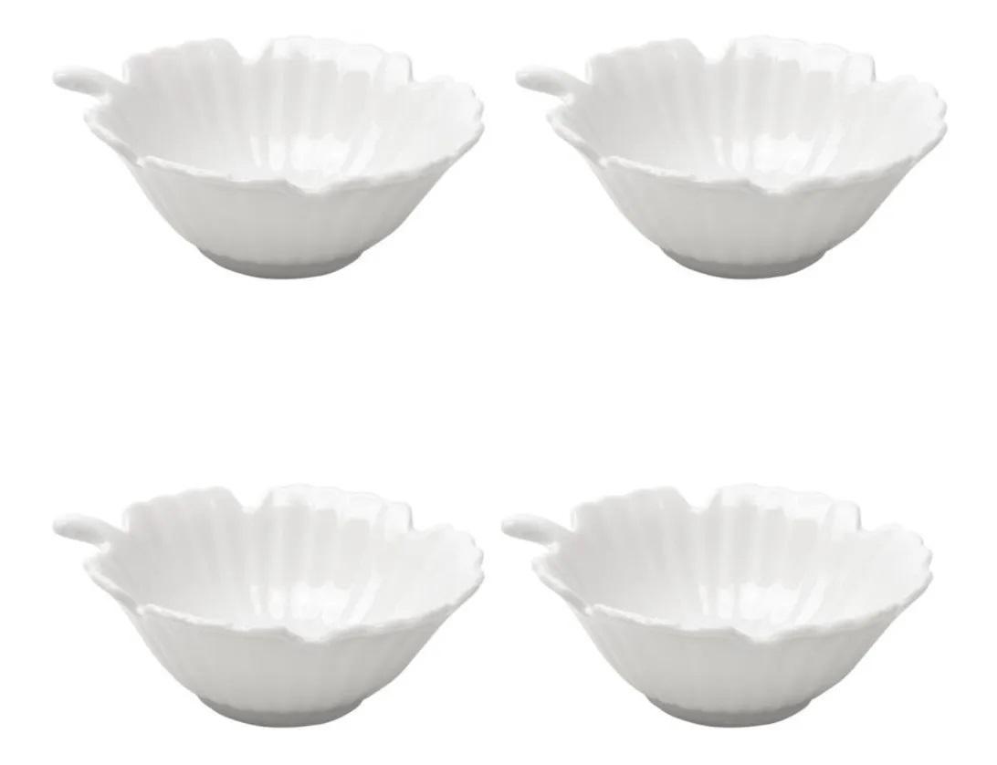 Jogo 4 Bowls de Porcelana Brancos Leaves - Bon Gourmet