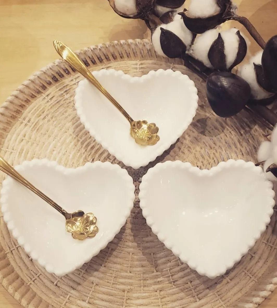 Jogo 4 Bowls Porcelana Coração Beads Branco 13X11X4Cm- Wolff