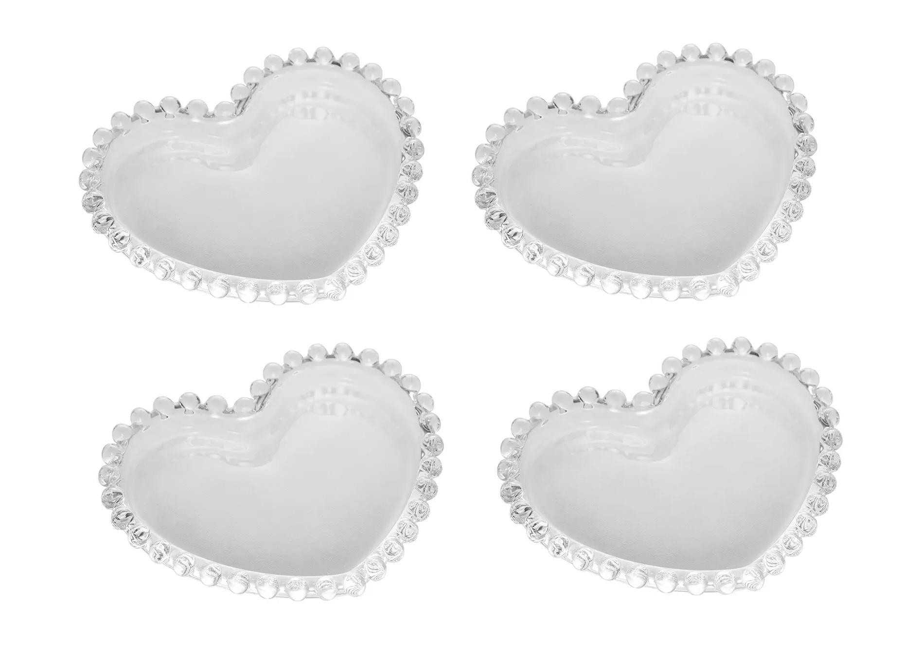 Jogo 4 Pratos de Cristal Coração Bolinha Transparente Pearl 12X10X1cm - Wolff