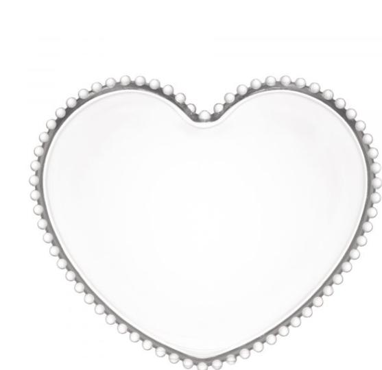 Jogo 4 Pratos de Cristal Coração Bolinha Transparente Pearl 18x15x2cm - Wolff
