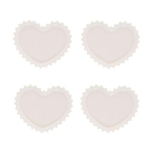 Jogo 4 Pratos Porcelana Coração Beads Branco 12x10x1cm -  Wolff
