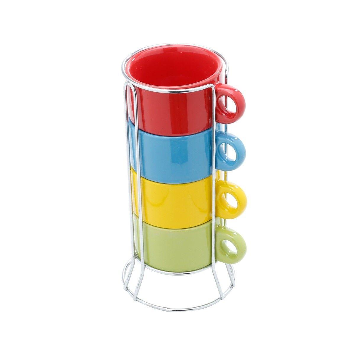 Jogo 4 Xícaras 200ml Para Chá De Porcelana Colorida Com Suporte