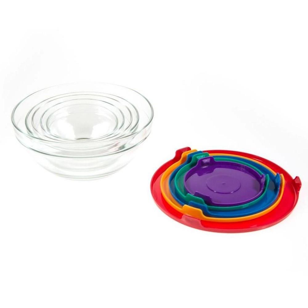 Jogo 5 Tigelas de Vidro com Tampas Coloridas