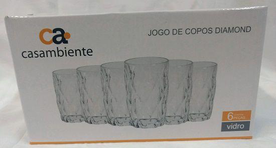 Jogo 6 Copos Diamond Transparente 360ml