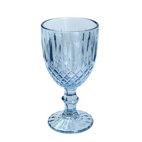 Jogo 6 Taças Água Vidro Greek Azul 345ml  - Bon Gourmet