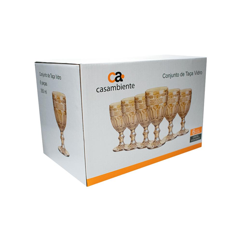 Jogo 6 Taças em Vidro Âmbar Espelhada Lumini 350 ml - Casambiente