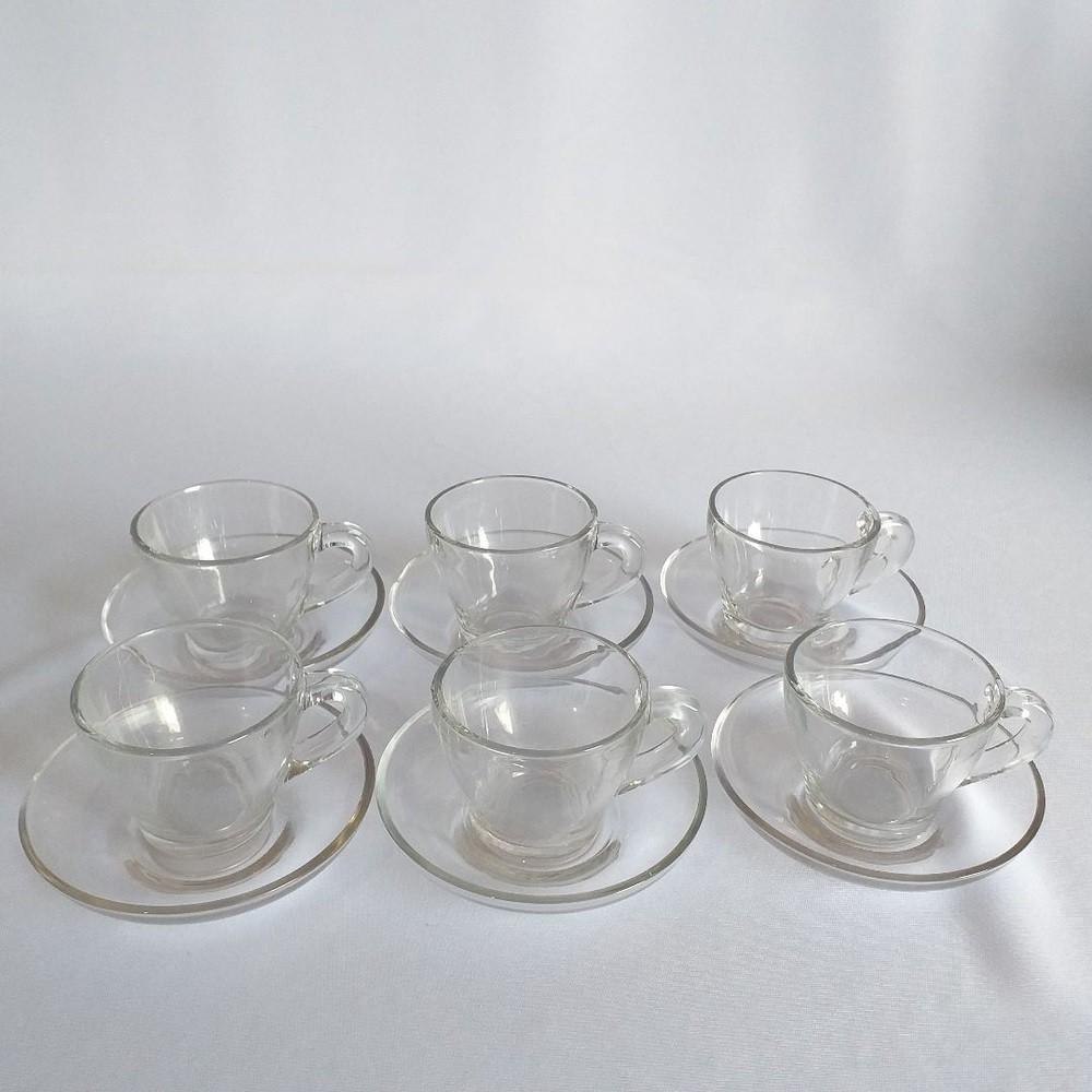 Jogo 6 Xícaras com 6 Pires Transparentes 90ml