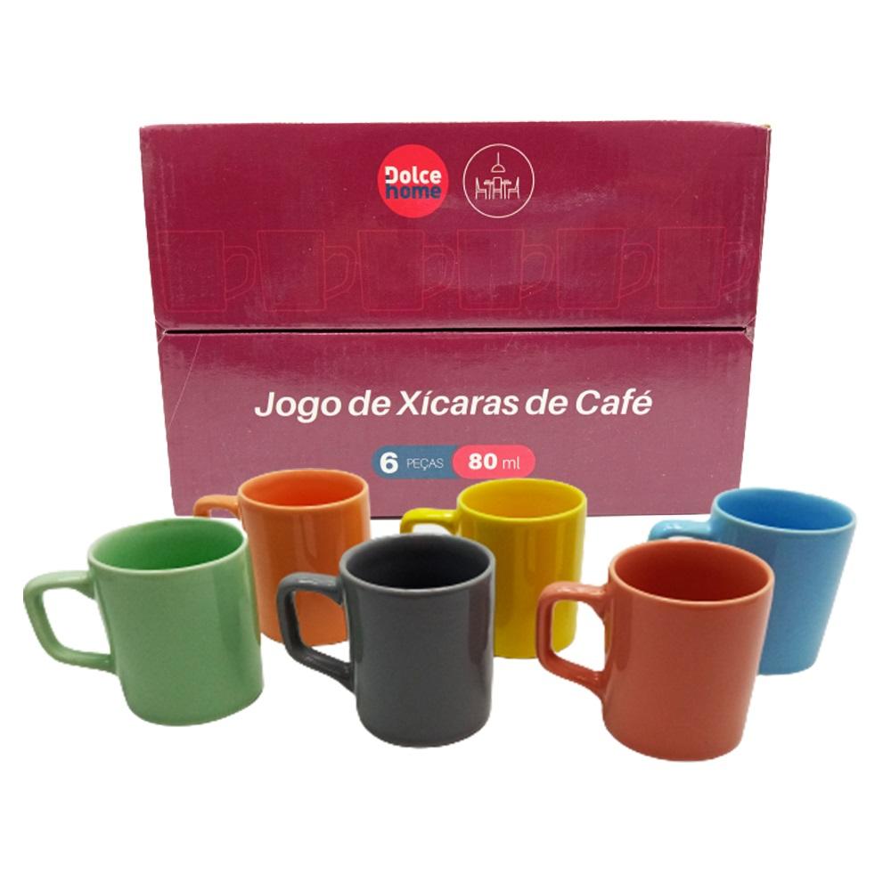 Jogo 6 Xícaras de Café Coloridas 80ml - Dolce Home