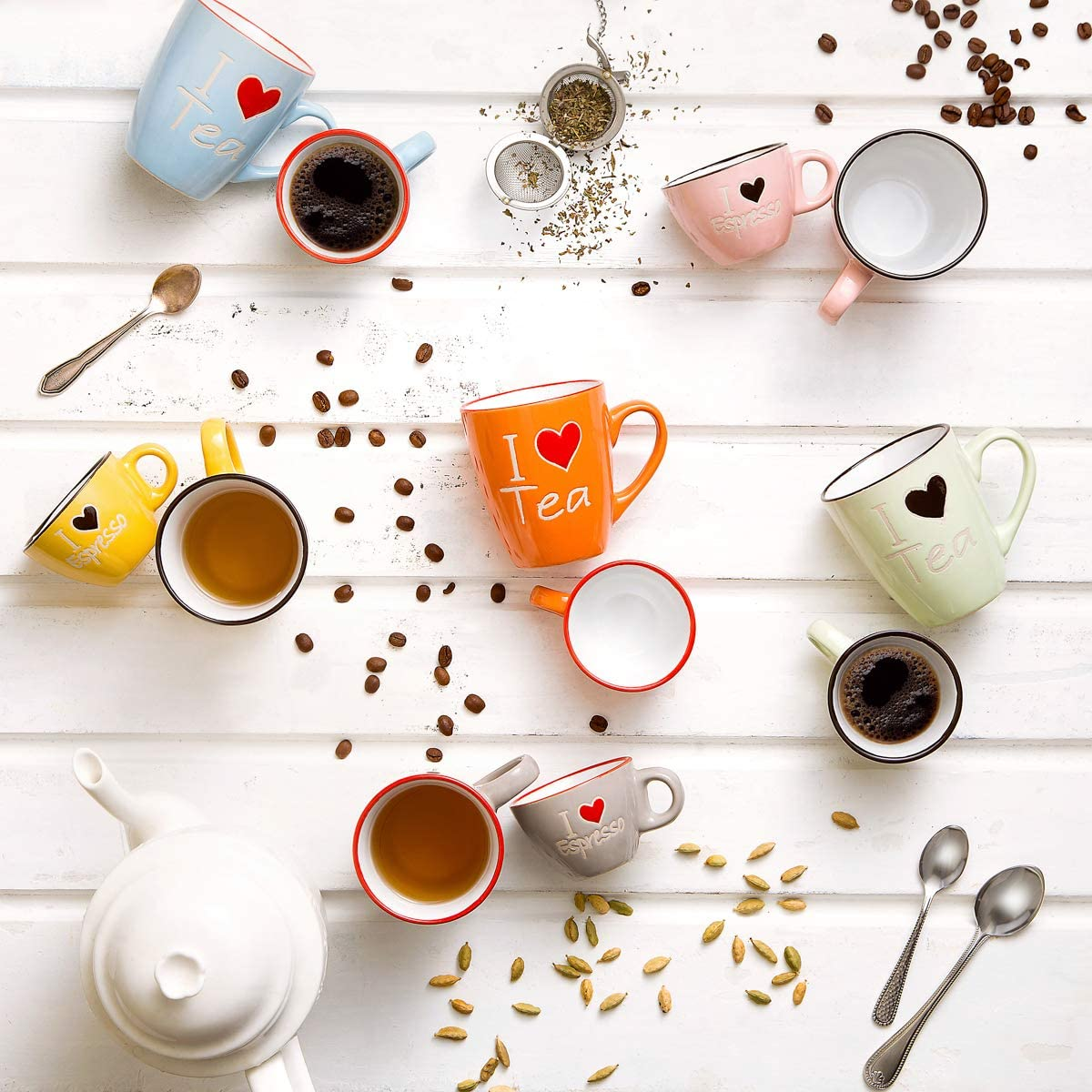 Jogo 6 Xícaras de Café Colors Love 80ml - Bon Gourmet