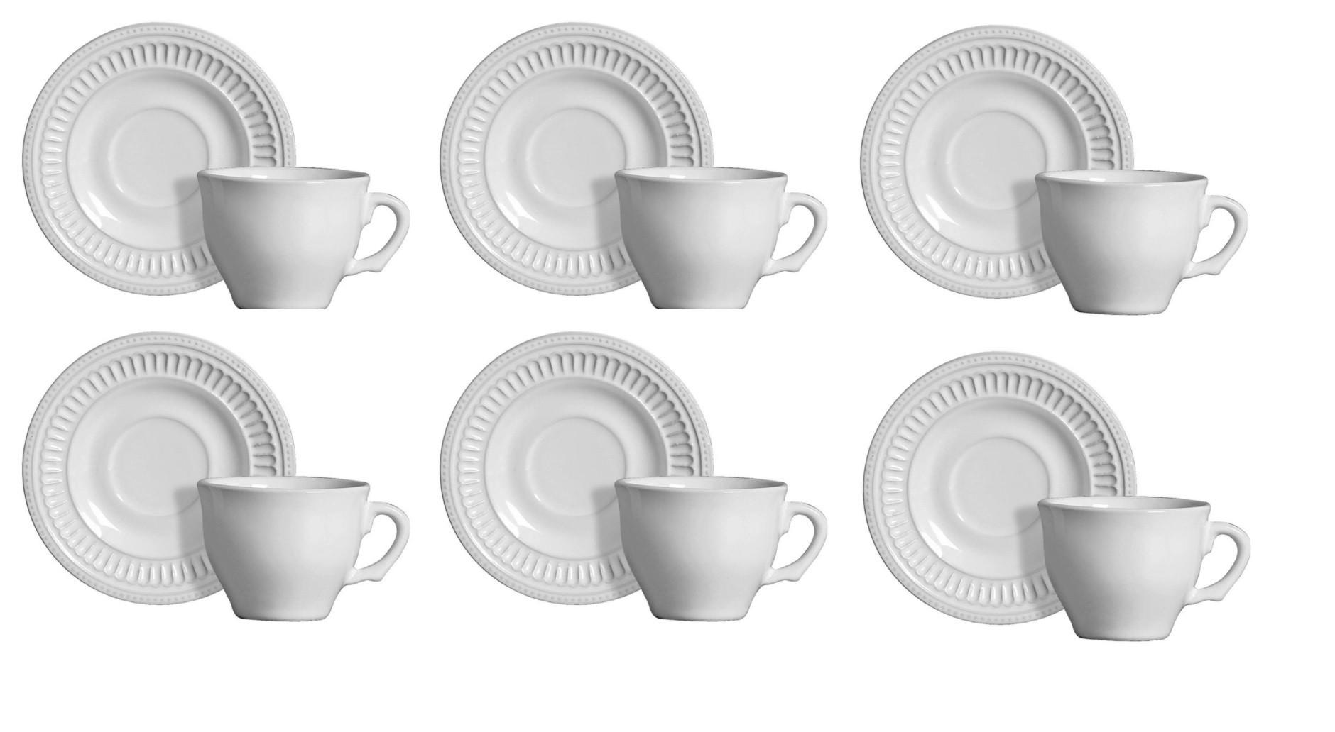 Jogo 6 XÍcaras De Café Poppy Branco - Scalla