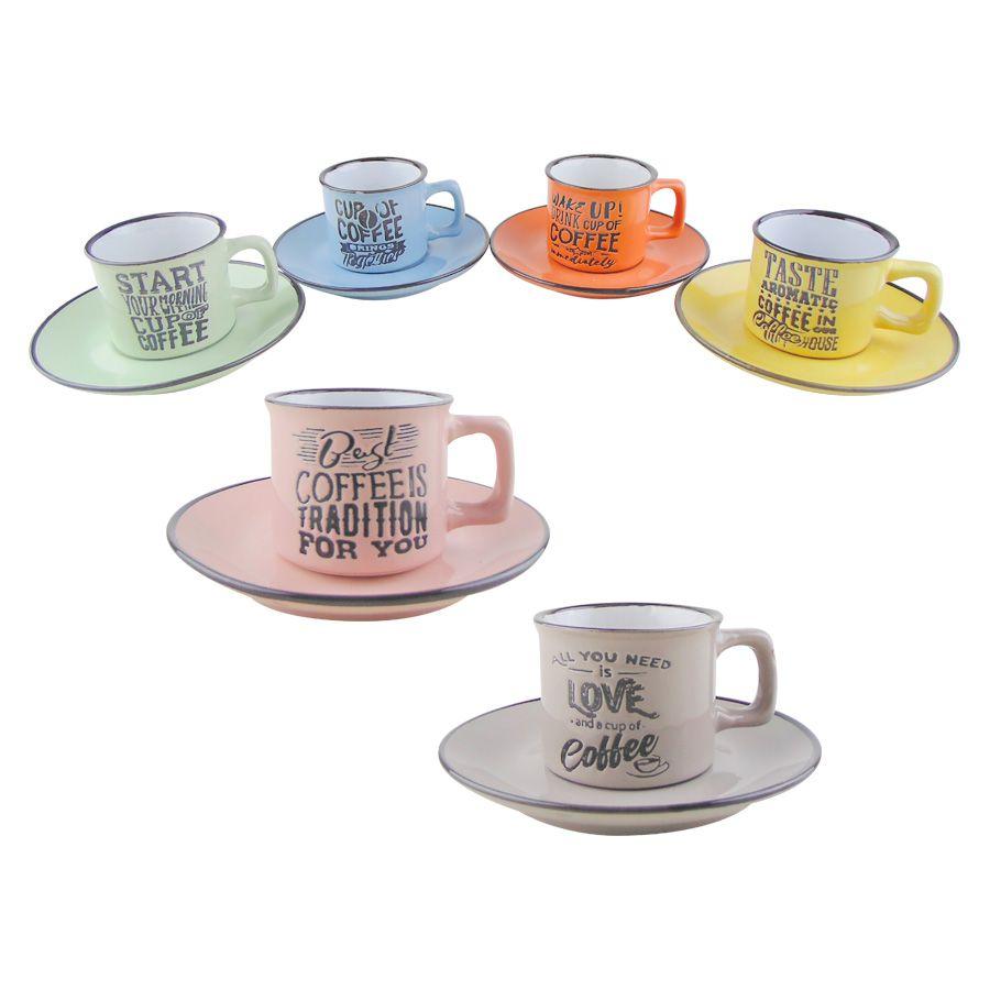 Jogo 6 Xícaras de Café Porcelana C/ Pires Coloridas 80ml