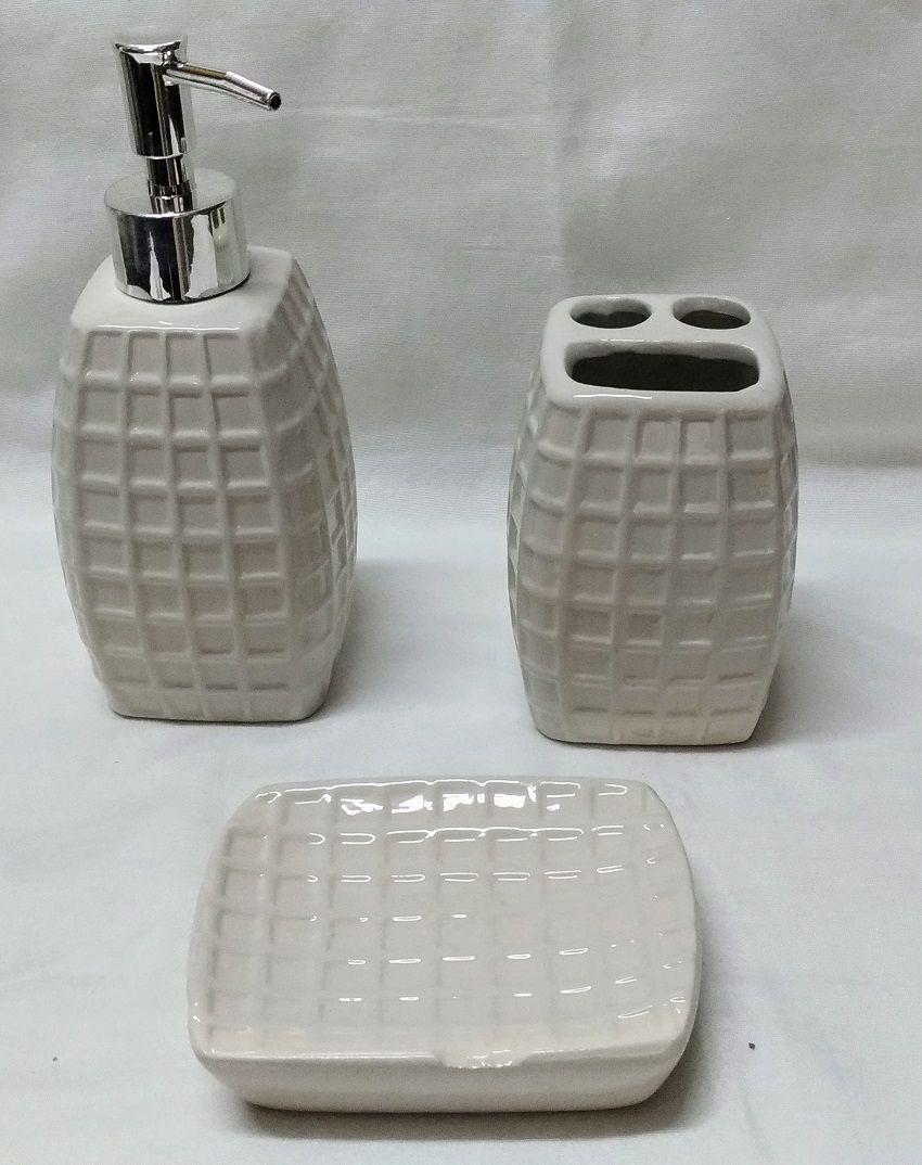 Jogo Banheiro 3 pcs Porcelana Branco c/ Relevo