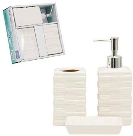 Jogo de Banheiro de Cerâmica Branco 3 Peças - Wincy