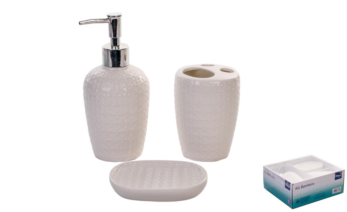 Jogo de Banheiro de Porcelana Branco 3 Peças - Rio de Ouro