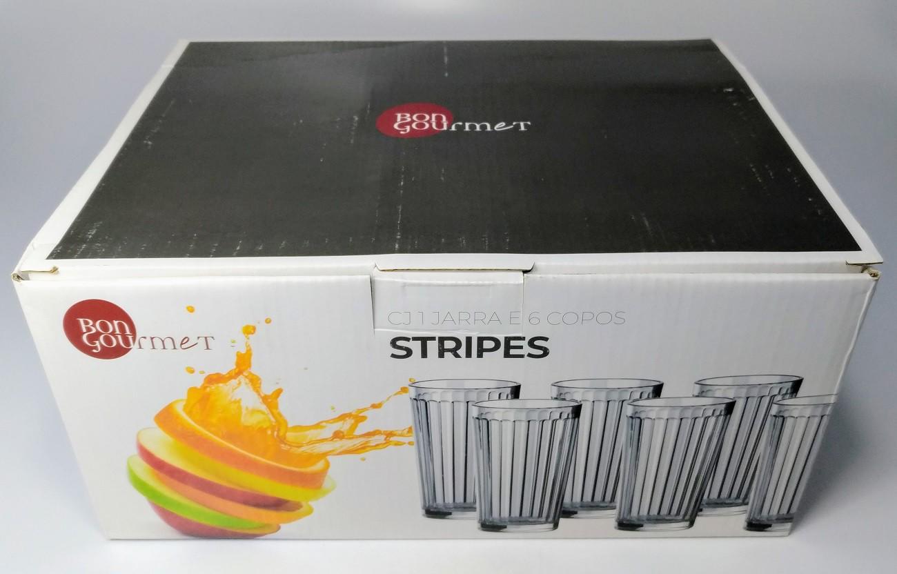 Jogo  Jarra 1L com 6 Copos Vidro 270ml Stripes